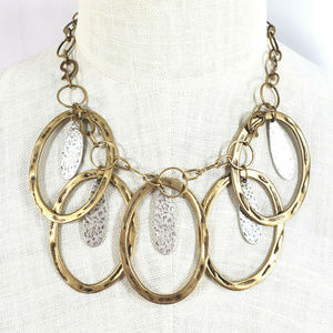 Chico's Antique Gold Tone Oval Statement Necklace